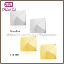 2013 New Products Fashion Polished Stainless Steel Silver and Gold Pyramid Stud Earrings