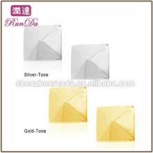 2013 Artigos Novos Moda Polido Aço Inoxidável Prata e Ouro Pirâmide Stud Earrings