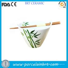 Cuenco de ramen de porcelana de bambú o sakura de diseño japonés