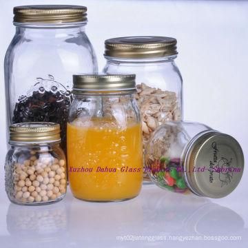 300-100ml Carved Glass Food Storage Jar with Lid Kitchenware