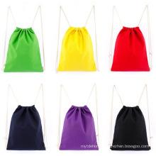 Eco-Friendly Canvas Cotton Shoulder Drawstring Backpack Tote Shopping Bag