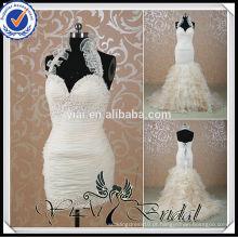 RSW515 Champagne Colored Mermaid Halter Neck Vestido de casamento Destaque da saia