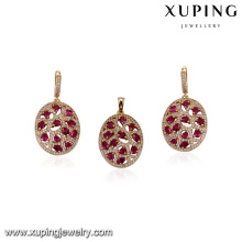 64156 best selling fashion china wholesale ruby stone diamond gold jewelry sets trendy style