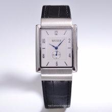 Reloj de pulsera de cuero de banda unisex High-End con movimiento suizo