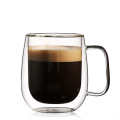 Thermal Insulated and No Condensation with Wide Handle Double Wall Glass Coffee Mugs Tea Cups Set of 2