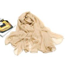 Couleur Suger Super Large Size Neckwear Écharpe en mousseline de soie polyester