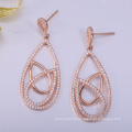 China manufacture custom logo earrings with rose plated