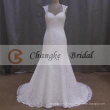 2016 elegante encaje vestido de novia Appliqued Mermaid boda