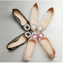 Chaussures plates de dames de mode chaussures plates occasionnelles de dentelle (HCY02-1465)