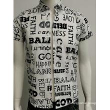 Mens voile print slim fit shirt in summer