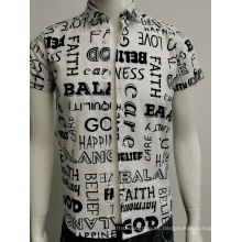 Camisa slim fit con estampado de gasa de algodón para hombre