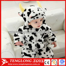 Cartoon animal style cow shaped soft baby winter romper wholesale