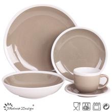 20PCS Céramique Dîner Set Seesame Glaze avec jante blanche