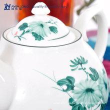 Azul flor barato moderno tetera y taza conjunto único de cerámica británica flor de tetera para adultos