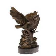 Tier Bronze Skulptur Vogel Eule Dekoration Messing Statue Tpy-626