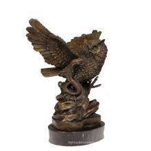 Животных Бронзовая Скульптура Птица Сова Украшения Латунь Статуя Т-626