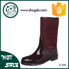 women red leather over knee rain boots with fur lining B-888