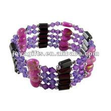 "Magnetic Purple Heart Wrap Bracelets & Collier 36 """
