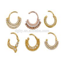 2015 novo estilo de aço septo piercing Clicker Ring ouro plantado