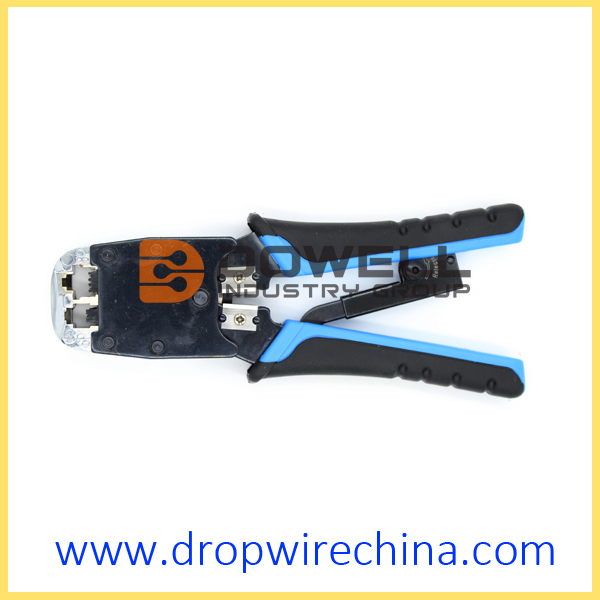 Dual Modular Plug Crimping Tool With Ratchet