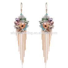 Warme Farbe Kristall Mode Zubehör baumeln hypoallergenen langen Ohrringe Schmuck