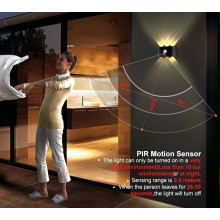Motion Sensor aluminum waterproof led wall light