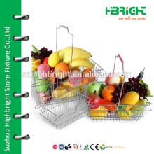 Супермаркет из нержавеющей стали металлическая сетка корзина для фруктов