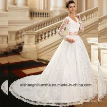 Applique V-Neck Manga Comprida Lace Ball Gowns Vestidos De Casamento Wd003