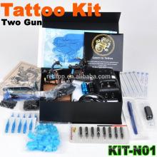 Alta qualidade novo profissional tatuagem kit com 2 pistola