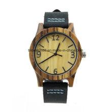 Relógio de madeira de bambu de bambu natural da faixa do couro genuíno do relógio de pulso unisex