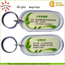 Custom Design Transparente Promoção Acrílico Key Rings para Presentes