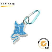 Barato mas legal personalizar anéis chave de PVC de mosquetão Ym1114