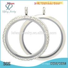 Novo design e encantos flutuantes moda locket, aço inoxidável atacado locket para homens