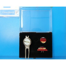 Transparent Gift Box for Men Golf Divot Tool and Hat Clip Set