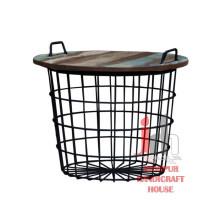 Mesa de cesta de ferro