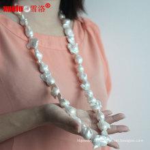 Collier baroque à perles d'eau douce de 100cm de long pour gros (E130134)