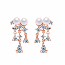 Bridal Party Jewelry Gold Plated Turkish pearl Dancing earring