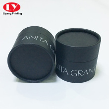 Custom white ink logo black round tube box