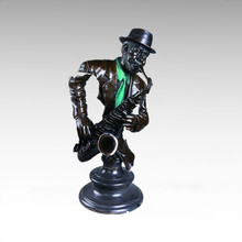Bustes Laiton Statue Saxophoniste Décoration Bronze Sculpture Tpy-014