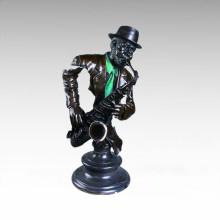 Бюсты Латунь Статуя Саксофонист Украшения Бронзовая Скульптура Т-014
