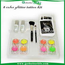 Getbetterlife 8 encre en poudre/2 brosse cosmétiques/2 corps colle/20 pochoir de tatouage, kit de tatouage paillettes enfants
