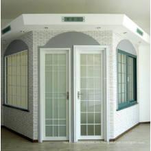 Woodwin Doble vidrio templado rompimiento térmico de aluminio Puerta de marco / puerta francesa