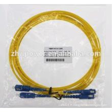 Cordon de raccordement SC / UPC en fibre optique Cordon de raccordement à une fibre monobloc 9/125 cordon de connexion optique simplex