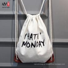 Saco de mochila de lona de moda de alta qualidade