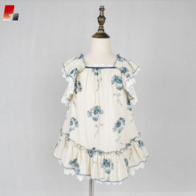 girls blue floral printed butterfly sleeve dress