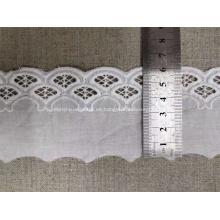 Blanco suizo de alta calidad de algodón y encaje de nylon neto de ajuste