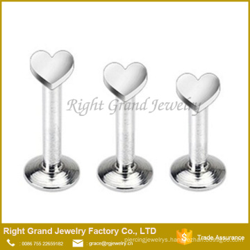 Surgical Steel Internally Threaded 3mm Heart Top Labre Monroe Piercing