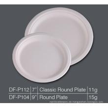 Runde Platte Bagasse Platte Papier Zellstoff biologisch abbaubare Platte, Party Kuchen Dessert Platte