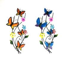 Великолепная металлическая стеновая отделка Танцы на ветке бабочек для сада