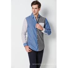 moda algodão impresso contraste manga longa mens camisas